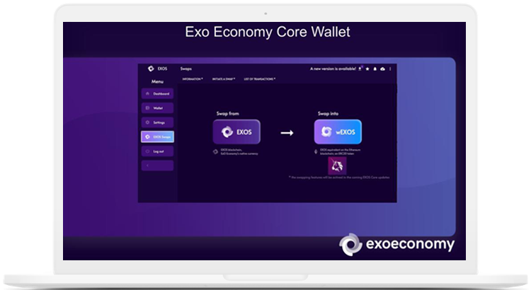 ExO Economy Core Wallet EXOS token wEXOS wrapped token
